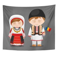 Romanians in National Dress with Flag Man and Woman Traditional Costume Travel to Romania People Flat Wall Art Hanging Tapestry inch Hanging Tapestry, Hanging Wall Art, Wall Hangings, Romania People, 1 Decembrie, Flag Art, Fabric Printing, Sofa Covers, Dorm Decorations