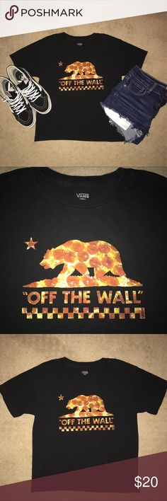 VANS PIZZA OFF THE WALL GRAPHIC TSHIRT WOMENS  AUTHENTIC AND RARE VANS PIZZA OFF THE WALL GRAPHIC TSHIRT WOMENS SIZE SMALL IN BLACK! Great piece of streetwear clothing!! I mean, who doesn't love pizza?! Let alone the great image of pizza behind this classic vans logo! Gently worn with a slight fade in the black but you can hardly tell as shown in these pictures! Great condition! The logo is unbroken! Can be paired with ripped jeans and sk8-hi tops or the classic vans! Super comfortable and…