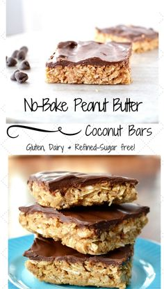 Chocolate Peanut Butter Coconut Bars Recipe! Peanut butter, honey, coconut and oats make up these delicious dessert bars! Gluten-free, dairy-free, and refined-sugar free. You get the taste of a decadent dessert with zero guilt!