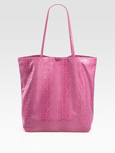 Carlos Falchi Matte Microfiber Medium Tote, in pink or blue, brown, cobalt (Iove), forest, green (olive), grey, light blue (love), red, or tan