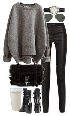 """""""Untitled #8483"""" by nikka-phillips ❤ liked on Polyvore featuring Proenza Schouler, Ray-Ban, Isabel Marant and FOSSIL"""