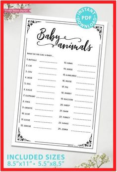 Baby Animals Names Shower Game Printable (Rustic) - Press Print Party! Baby Animals Baby Shower Game Printable, Rustic Do you know at a baby goose is called?Harder than Classy Baby Shower, Baby Boy Shower, Baby Animal Names, Baby Animals, Names Baby, Baby Shower Activities, Baby Shower Printables, Party Printables, Bridal Shower Games