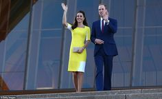 Just the two of us: The Duke and Duchess of Cambridge walk down the stairs of the Sydney Opera House, while George is taken to the car by his nanny