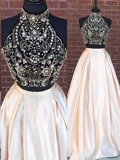 Two Piece Prom Dress, Halter Prom Dress , Beaded Blush Pink Satin Long Evening Gown #prom #promdress #promdresses #dress #dresses