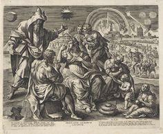 Hieronymus Wierix | Vernietiging van heilige plekken, Hieronymus Wierix, Johann Sadeler (I), 1583 | Mannen, vrouwen en kinderen hebben zich verzameld aan de rand van de stad. Ze hebben brokstukken uit de verwoeste stad meegenomen. Op de achtergrond de ondergang van Jeruzalem. De stad staat in brand en wordt geplunderd. In de marge Bijbelcitaten uit Dan. 9, Luc. 21 en Mat. 24 in het Latijn.