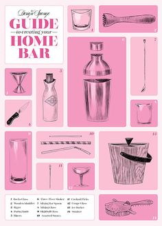 Essential Tools for the Home Bar--the only thing missing here is a citrus reamer: essential for any cocktail that uses fresh citrus juice!