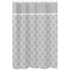 A charming grey and white trellis pattern is displayed on this shower curtain to lend chic style to your bathroom decor. Crafted with soft brushed microfiber by Sweet Jojo Designs, this curtain will add contemporary elegance to any master or guest bath.