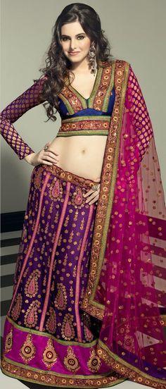 Dark #Purple Net A-Line #Lehenga Choli with Dupatta @ $403.83 | Shop @ http://www.utsavfashion.com/store/sarees-large.aspx?icode=lsl18