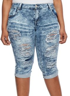 Plus Size Distressed Acid Wash Capri Jeans,DARK WASH