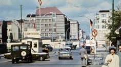 Picture taken in June 1968 of the famous Checkpoint Charlie crossing point, marking the border between East (Soviet sector) and West Berlin (American sector).