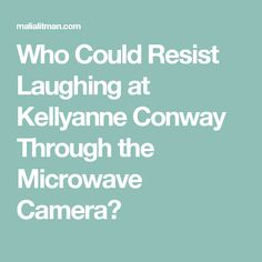 Who Could Resist Laughing at Kellyanne Conway Through the Microwave Camera?