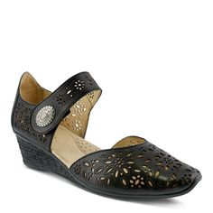 Spring Step Women's Nougat Wedge Mary Jane Shoes (Black Leather) - 35.0 M