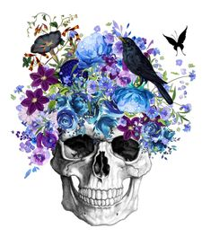 Skull With Purple Blue Flowers, 8x10 Watercolor Floral Skull, Ravens Call Human Skull, Purple Color Art, Blue and Purple Wall Print, 8x10