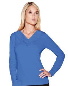 V-neck long sleeve knit shirt Womens (95% cotton 5% spandex) Tri mountain LB141 #Spandex #knitshirt