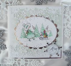Annabelle with Sledge from Wild Rose Studio Merry Christmas Card, Christmas Cards, Studio Cards, Marianne Design, Projects To Try, Stamps, Create, Rose, Handmade Cards