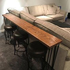 Reclaimed Wood Bar Table with Hairpin Legs Custom. Bar Table Behind Couch, Sofa Bar, Couch Table, Table Diy, Wood Bar Table, Wooden Tables, Patio Bar Set, Pub Table Sets, Bar Tables