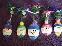 Step by Step Crafting Lessons: Painted Snowman Spoons Adapt to plastic spoons for class?