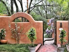 Most Romantic Santa Fe Home with Blossoms, Roses, etc. Like living in a spa. Rustic French Country, French Country Kitchens, Romantic Homes, Most Romantic, Santa Fe Home, Canyon Road, Wisteria, Fes, Garden Bridge