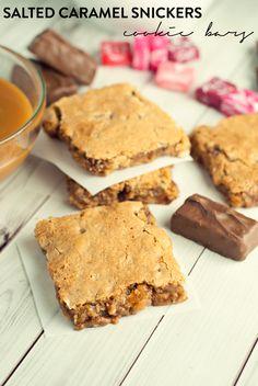 ... caramel Snickers cookie bars! #BigGameTreats #ad | asimplepantry.com