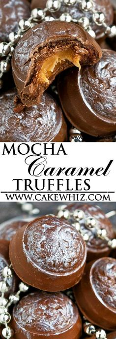 These MOCHA CARAMEL COOKIE DOUGH TRUFFLES are composed of chocolate shells, filled with mocha cookie dough and an ooey gooey caramel center. These mocha caramel truffles are easy to make with simple ingredients. From http://cakewhiz.com