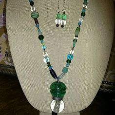Necklace and earrings Glass beads with a heavy handmade pendant in turquoise and purple Accessories