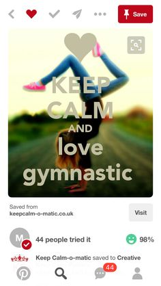 KEEP CALM AND LOVE GYMNASTIC. Another original poster design created with the Keep Calm-o-matic. Buy this design or create your own original Keep Calm design now. Gymnastics Moves, Gymnastics Tricks, Gymnastics Pictures, Gymnastics Girls, Rhythmic Gymnastics, Gymnastics Stuff, Gymnastics Quizzes, Olympic Gymnastics, Olympic Games