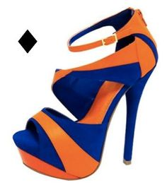 Blue and orange high-heeled shoe.