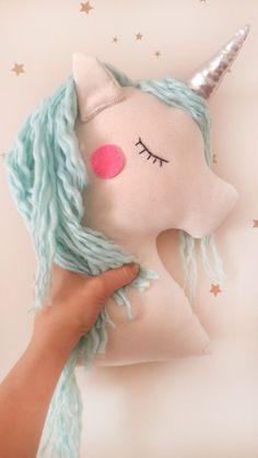 Unicorn pillow plush toy, mint unicorn nursery decor with shiny horn, animal pillow for baby toddler kids room, birthday gift for baby girls by missJoyka on Etsy https://www.etsy.com/listing/281460840/unicorn-pillow-plush-toy-mint-unicorn | Beautiful Cases For Girls
