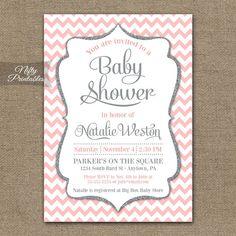Rosa gris bebé ducha invitaciones imprimible por NiftyPrintables