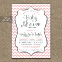 Pink Gray Baby Shower Invitations - Printable Blush Pink Silver Glitter Girl Baby Shower Invites - Pink White Chevron Invitation - PCH