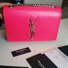 Saint laurent monogramme crossbody bag in pink Saint laurent monogramme small crossbody bag in pink with silver hardware. Comes with card and dustbag. DIMENSIONS 6.6 X  4.5 X 1.8 INCHES SHOULDER STRAP LENGTH 21.1 INCHES. Brand new costs $1650 plus tax.. Yves Saint Laurent Bags Crossbody Bags