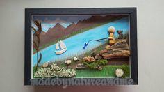 Unique Father's days gift Pebble art Fisherman art