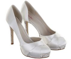 Christy by Rainbow   11.5cm. BRAND NEW! round toe court with flared overlays finished with shimmering silver glitter platform and heel. Ivory dyeable satin. Sizes 6-10.