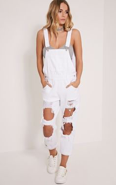 White extreme ripped cropped dungarees