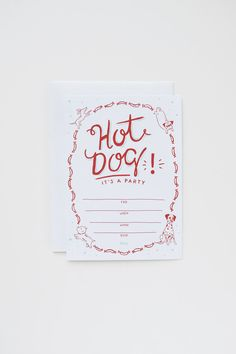 Hot Dog Party Invitation set of 10 by APairOfPears on Etsy, $18.00