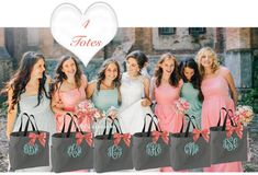 Etsy 5 Monogrammed Wedding Tote Bags, monogrammed bridesmaid bags, gifts for wedding party, bridal party Monogrammed Bridesmaid Gifts, Bridesmaid Tote Bags, Wedding Bag, Gifts For Wedding Party, Wedding Rings, Wedding Ideas, Monogram Wedding, Personalized Wedding, Wedding Favours Bridesmaids