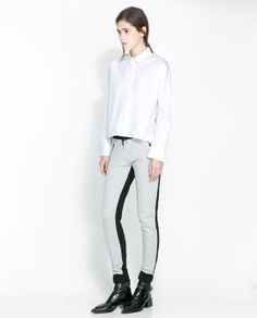 TWO-TONE VELOUR TROUSERS from Zara