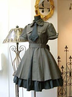 This one look like a solder outfit from the something Pretty Outfits, Pretty Dresses, Beautiful Dresses, Kawaii Fashion, Cute Fashion, Mode Lolita, Lolita Style, Gothic Lolita Fashion, Gothic Fashion