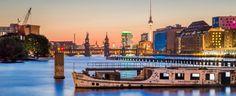 Berlin skyline with famous TV tower and Oberbaum Bridge river Spree Berlin Friedrichshain-Kreuzberg Germany