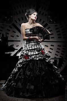 unusual wedding dress black white black wedding - Schandra - Wedding Dresses