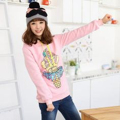 Ice-Cream Print Hooded Pullover from #YesStyle <3 59 Seconds YesStyle.com