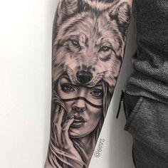 Tattoo done by artist Iva Chavez - Tattoos 3d, Native Tattoos, Forarm Tattoos, Dream Tattoos, Badass Tattoos, Body Art Tattoos, Tattos, Skull Hand Tattoo, Cat Tattoo