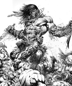 Conan - Pict Mound by Bart Sears 2012 Comic Book Artists, Comic Artist, Comic Books Art, Fantasy Warrior, Fantasy Art, Conan Der Barbar, Conan The Destroyer, Aztecas Art, Conan Comics