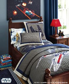 Star Wars bedroom! I am saving up some of my money from working at VS for this... I know he would love this bedset.. I just want the comforter and throw pillow, plain navy sheets will accompany it just fine.