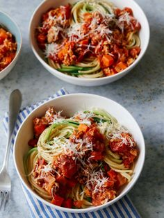 Simple Turkey Bolognese with Spaghetti and Zucchini Noodles