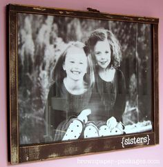 using an old window for a picture frame.