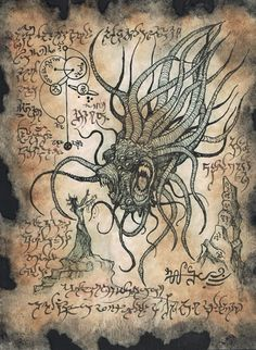 Items similar to Cthulhu larp YAG KOSHA Necronomicon occult witchcraft horror steampunk magic on Etsy Hp Lovecraft, Lovecraft Cthulhu, Call Of Cthulhu, Arte Horror, Horror Art, Larp, Cthulhu Mythos, Cthulhu Art, Dark Fantasy