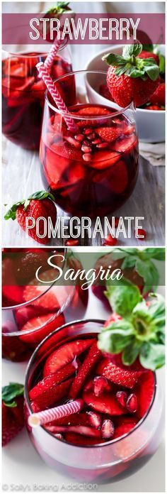 5 Ingredient Strawberry Pomegranate Sangria - A cheery and bright red wine sangria filled with strawberry and pomegranate. Cocktail Drinks, Cocktail Recipes, Sangria Drink, Red Wine Cocktails, Red Sangria Recipes, Red Wine Sangria, Party Drinks, Fun Drinks, Yummy Drinks