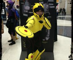 Gogo Tomago is the yellow speedster of the Big hero 6 team. She's spunky, likes to take charge, and is an overall B. A. After watching the movie Big Hero 6, my friend suggested that we have costumes created for the recent Chicago comic and entertainment expo. How could i deny such a request! well, let's get started!Materials-EVA foam-Hot glue-super glue-large washers (home depot)-circular magnetics (home depot)-thigh high boots-yellow craft foam-gesso-plastidip-acrylic paint-cardboard...