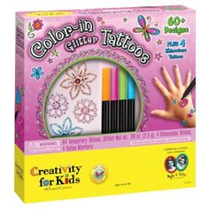 Color-in Glitter Tattoos by Creativity For Kids. $14.25. Ages 6-15 years. Create your own washable body art. The tattoo markers can be used again and again to create hundreds of temporary tattoo designs. From the Manufacturer                Complete set features 60+ tattoo transfers, 4 skin-safe tattoo markers, 4 rhinestone tattoos, application sponge, cosmetic glitter and a brush.                                    Product Description                Color-in Glitter Tattoos